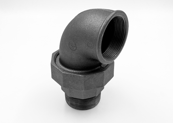 Black malleable iron fittings union elbow flat seat m f